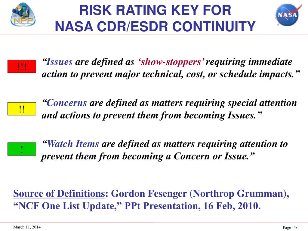 RISK RATING KEY FOR