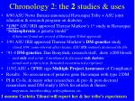 chronology 2 the 2 studies uses