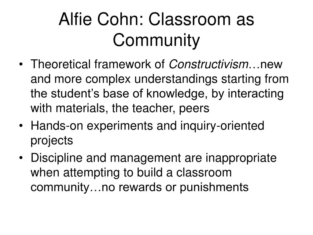 Alfie Cohn: Classroom as Community