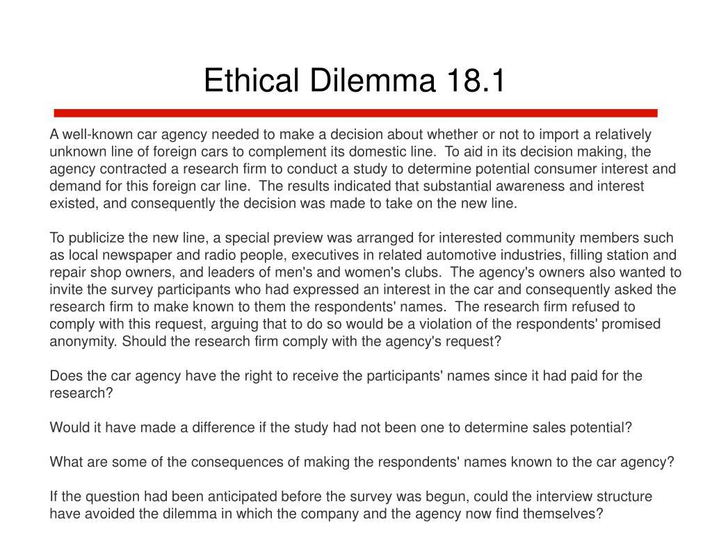 Ethical Dilemma 18.1
