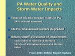 pa water quality and storm water impacts