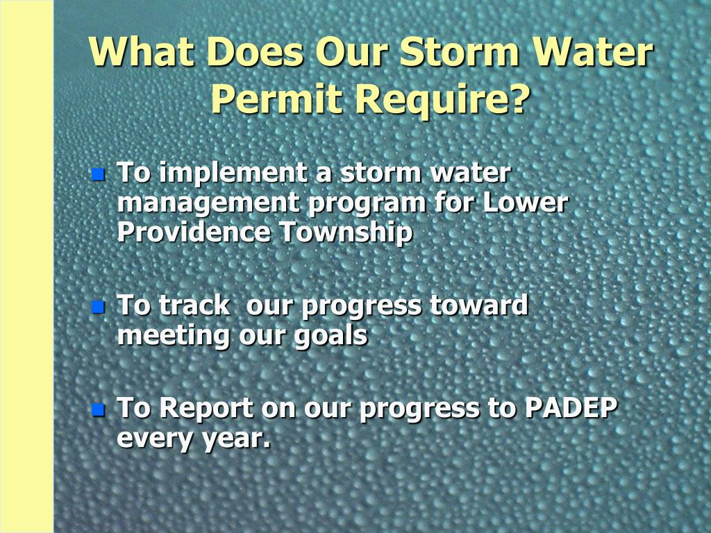 What Does Our Storm Water Permit Require?