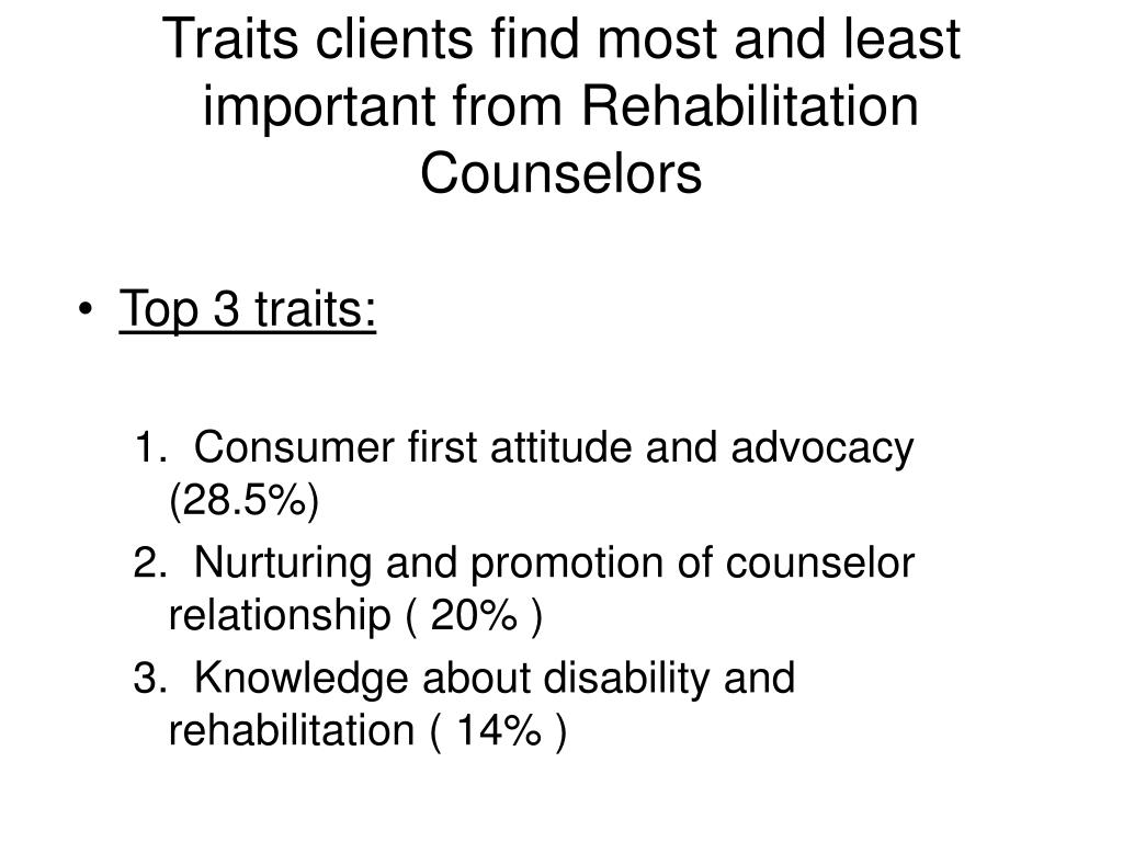 Traits clients find most and least important from Rehabilitation Counselors