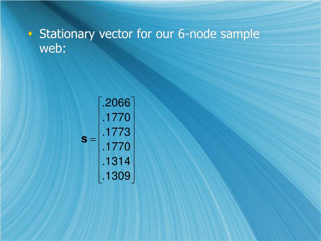 Stationary vector for our 6-node sample web: