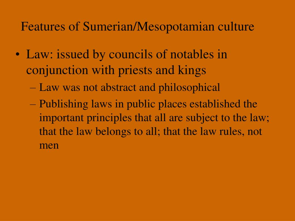 Features of Sumerian/Mesopotamian culture
