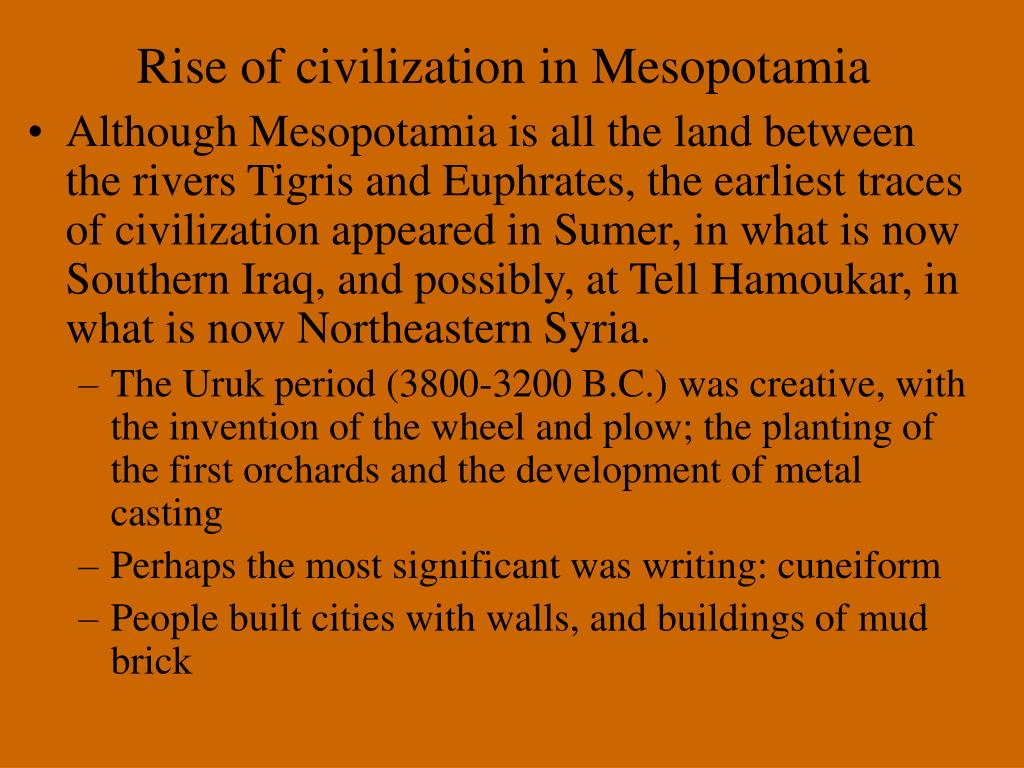 Rise of civilization in Mesopotamia