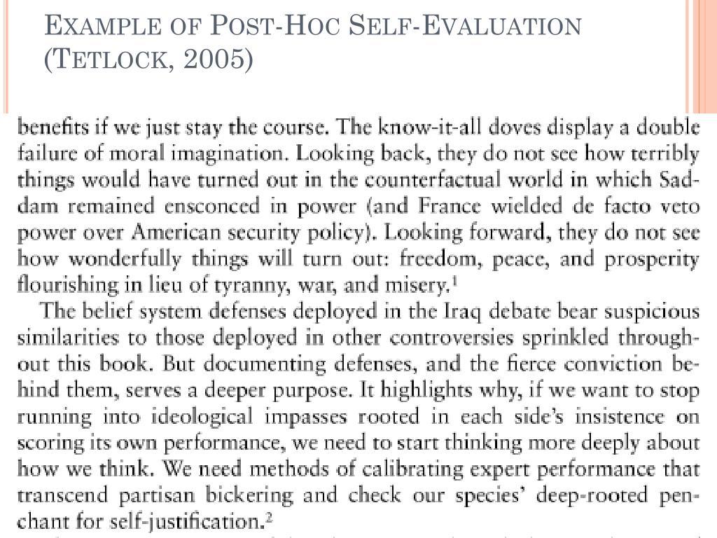 Example of Post-Hoc Self-Evaluation (