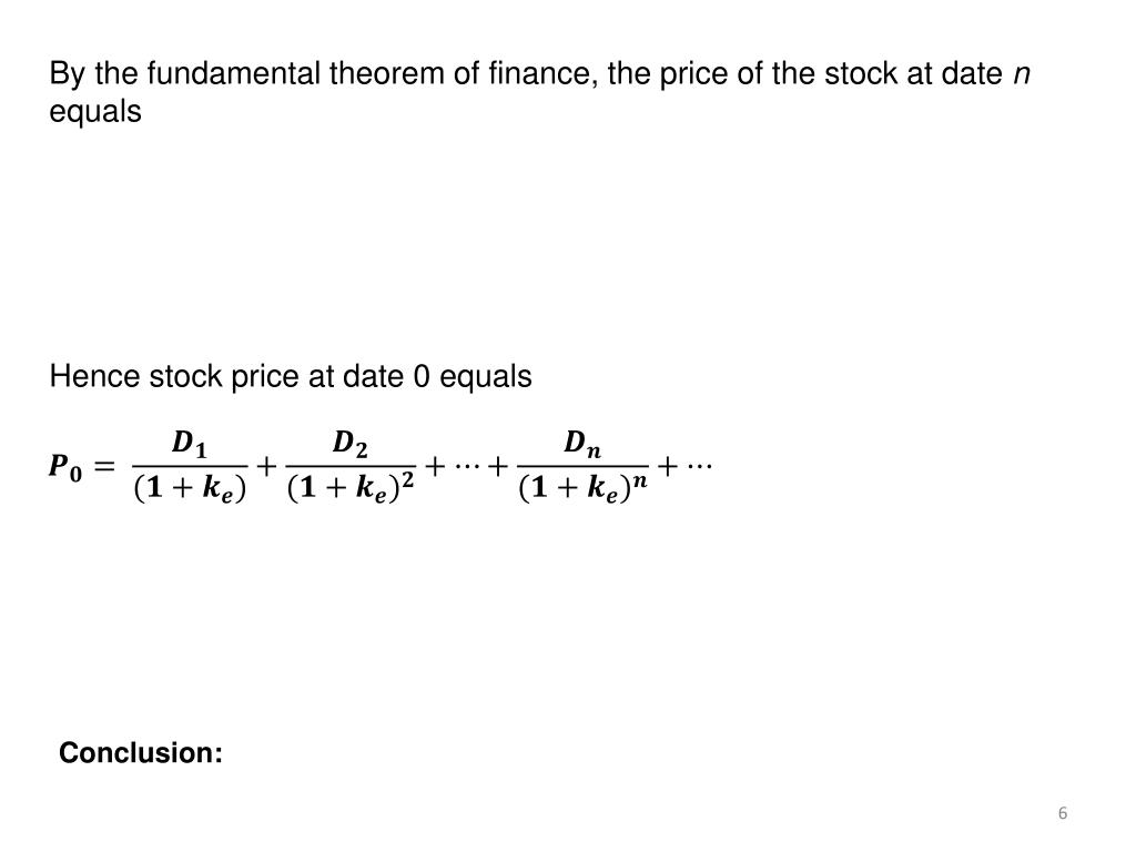 By the fundamental theorem of finance, the price of the stock at date