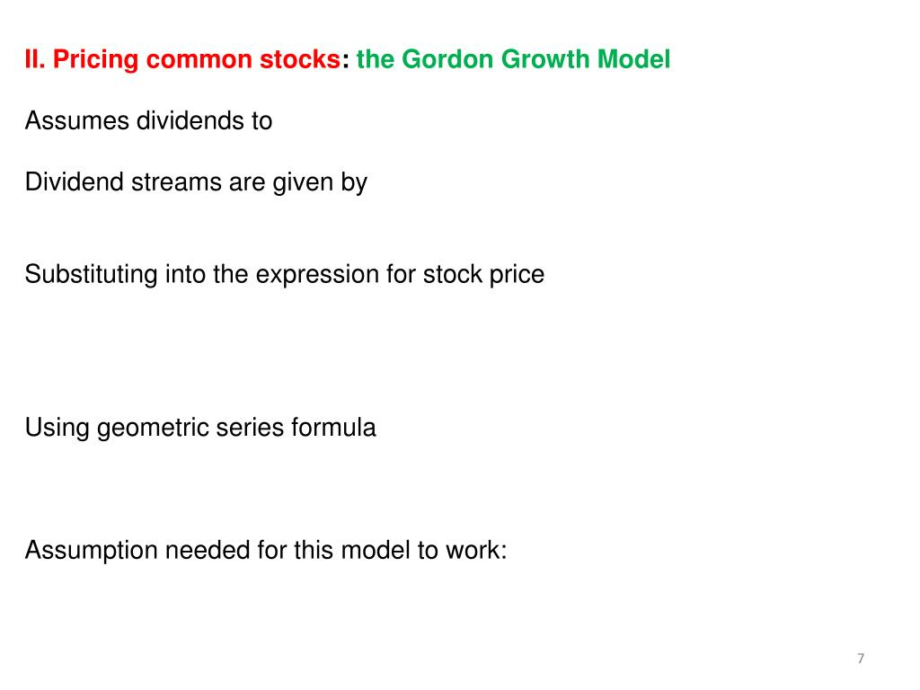 II. Pricing common stocks