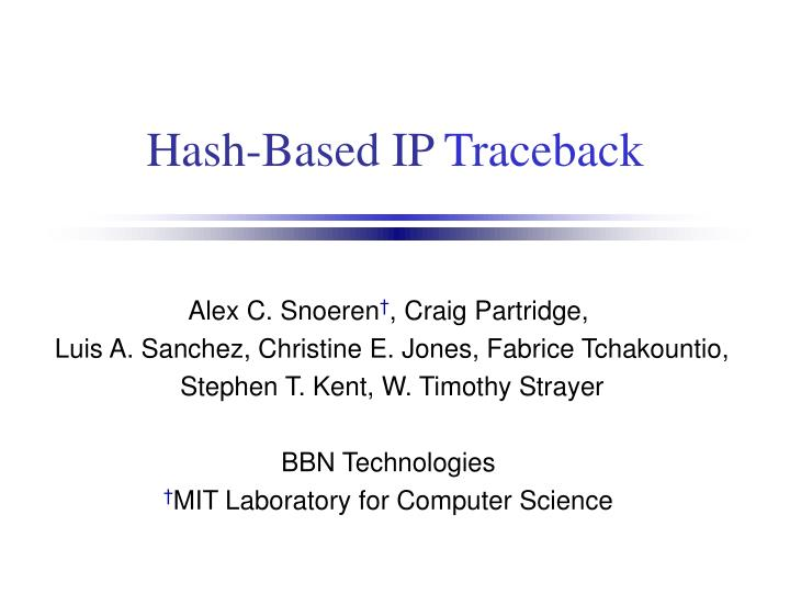 Hash based ip traceback
