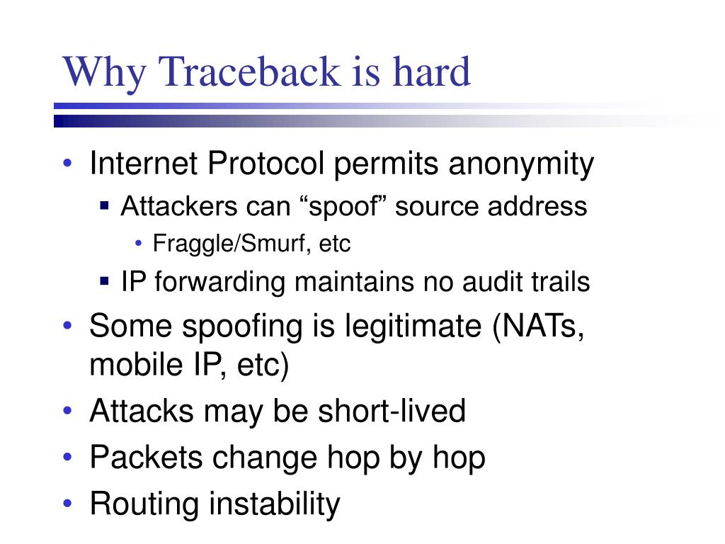 Why Traceback is hard