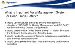 what is important for a management system for road traffic safety
