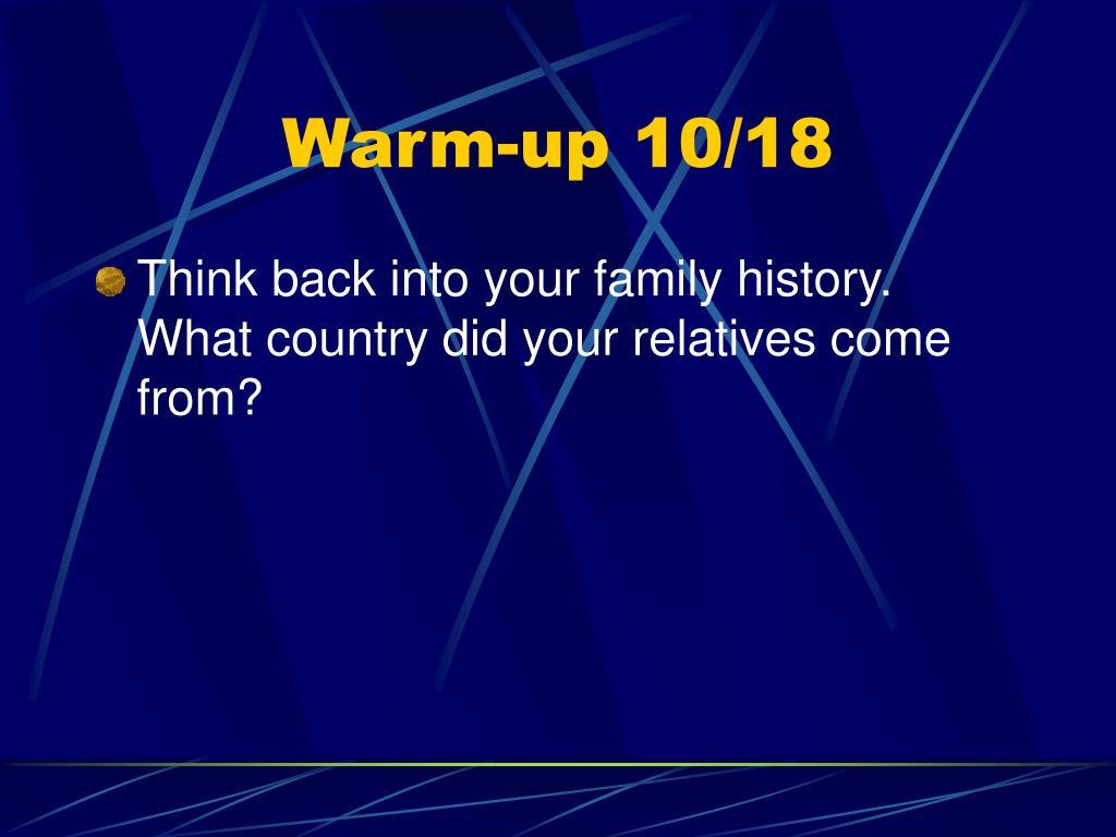 Warm-up 10/18