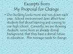 excerpts from my proposal for change