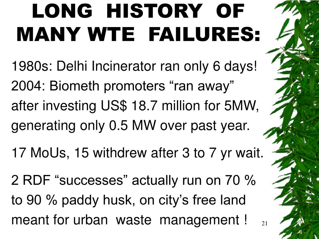 LONG  HISTORY  OF MANY WTE  FAILURES: