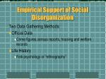 empirical support of social disorganization