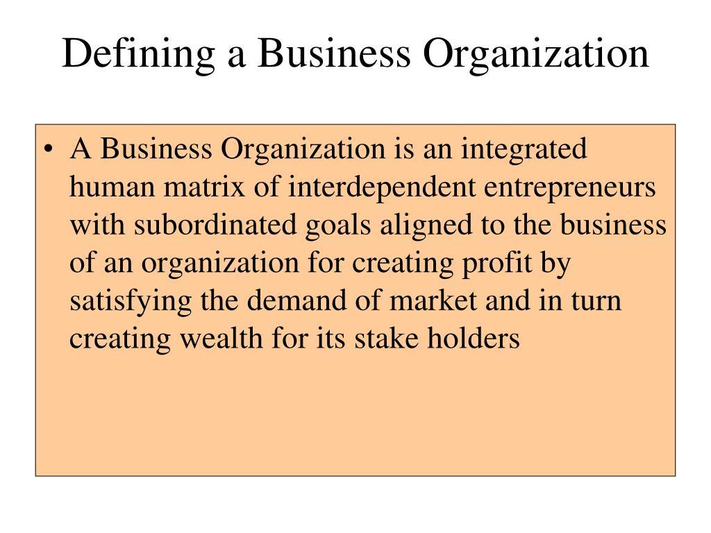 defining a business organization l.