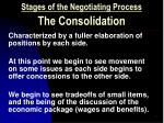 stages of the negotiating process the consolidation
