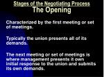 stages of the negotiating process the opening