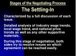 stages of the negotiating process the settling in