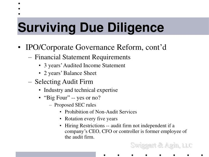 Surviving Due Diligence