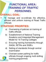 functional area training of traffic personnel