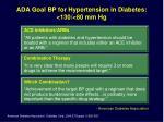 ada goal bp for hypertension in diabetes 130 80 mm hg