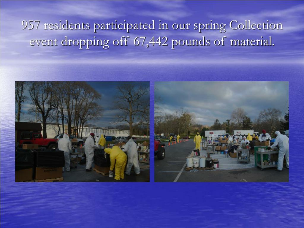957 residents participated in our spring Collection event dropping off 67,442 pounds of material.