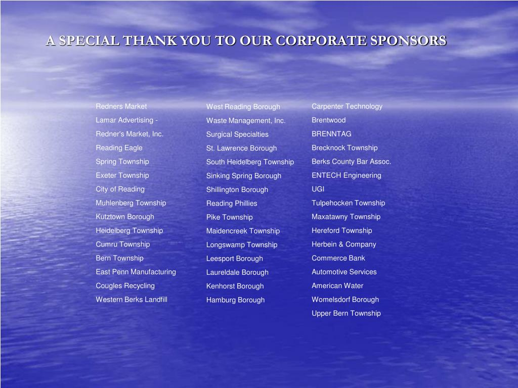 A SPECIAL THANK YOU TO OUR CORPORATE SPONSORS