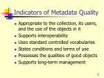 indicators of metadata quality