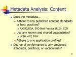 metadata analysis content