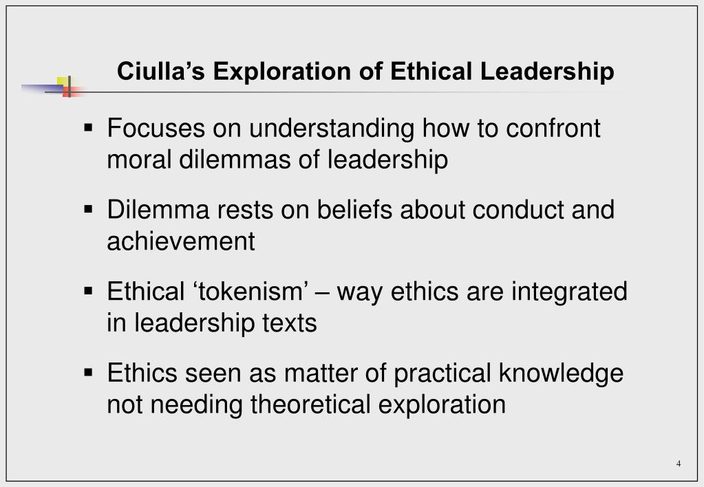 Ciulla's Exploration of Ethical Leadership