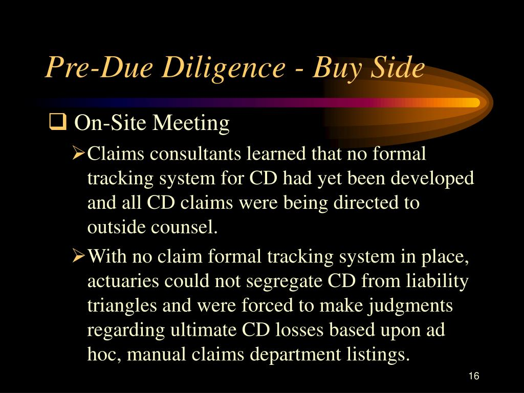 Pre-Due Diligence - Buy Side