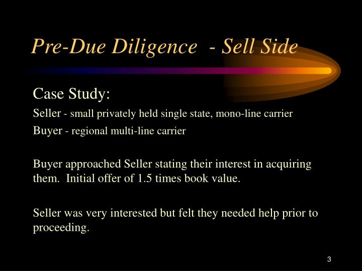Pre due diligence sell side
