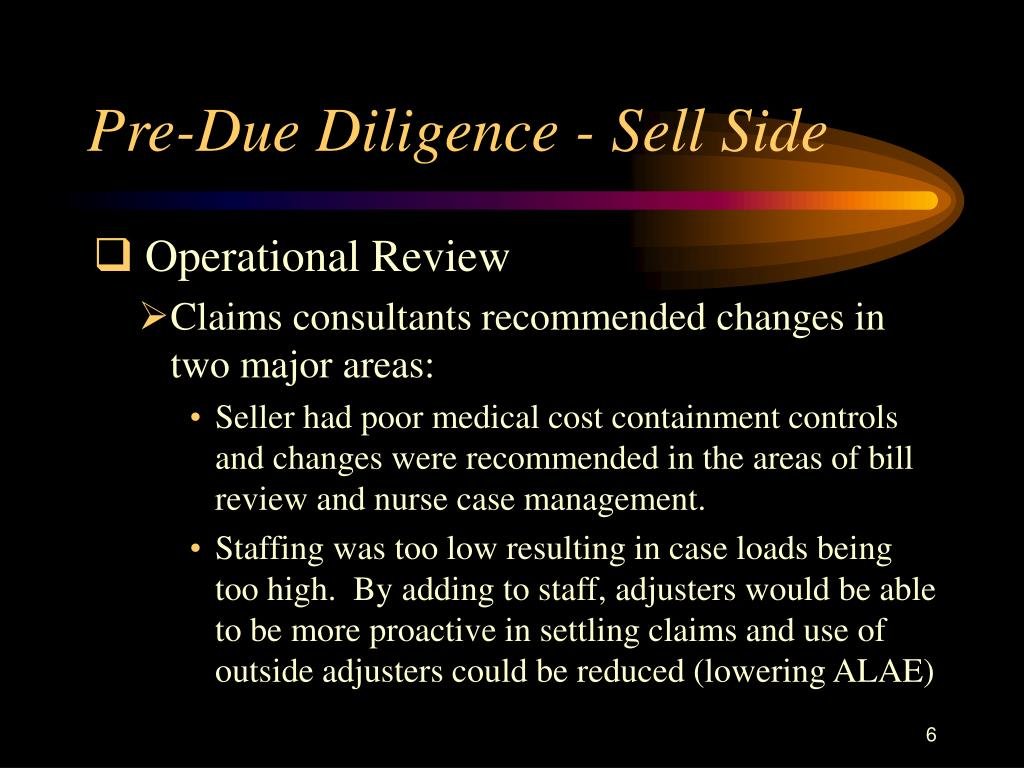 Pre-Due Diligence - Sell Side