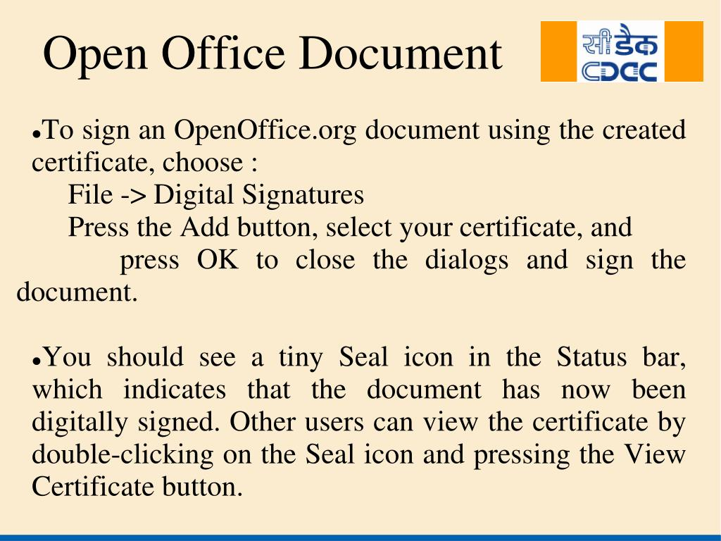 To sign an OpenOffice.org document using the created certificate, choose :