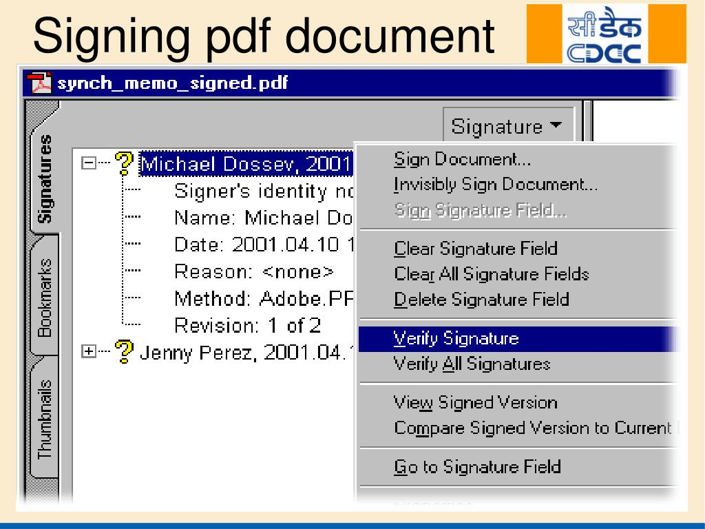 Signing pdf document