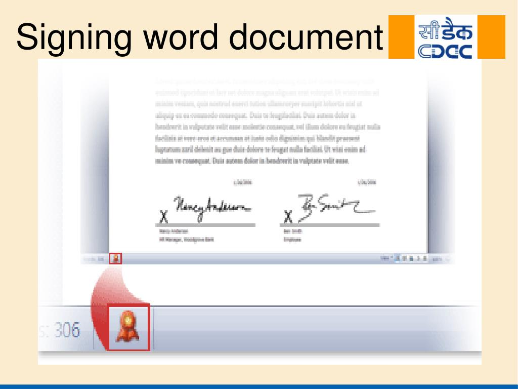 Signing word document