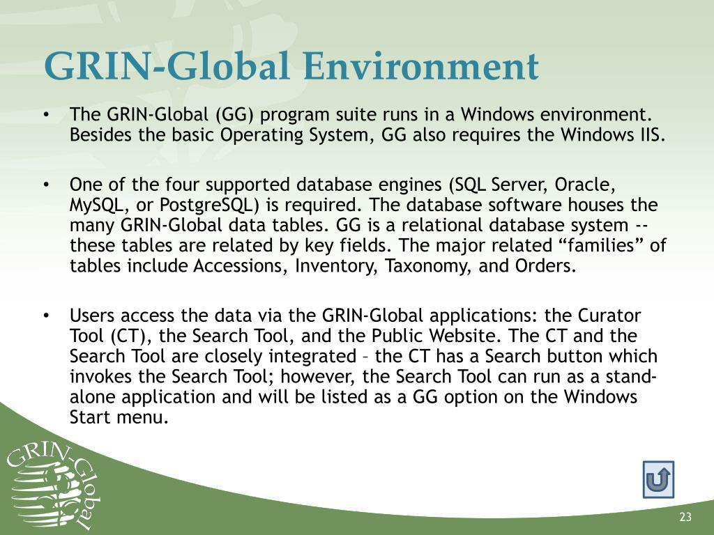 GRIN-Global Environment