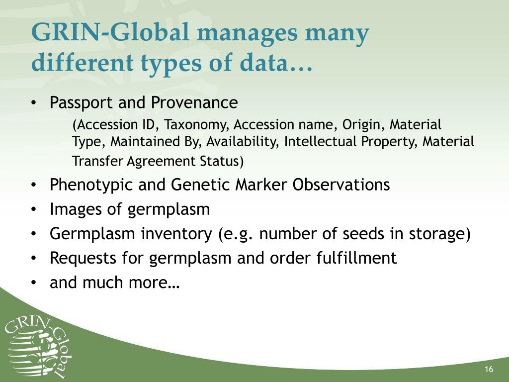 GRIN-Global manages many different types of data…