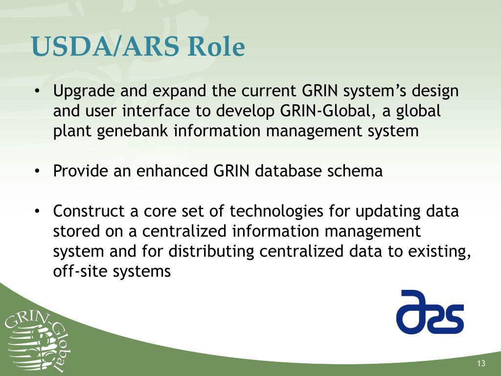 USDA/ARS Role
