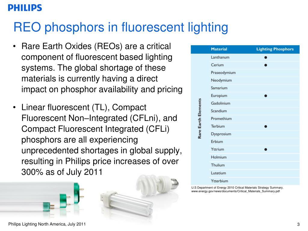 REO phosphors in fluorescent lighting