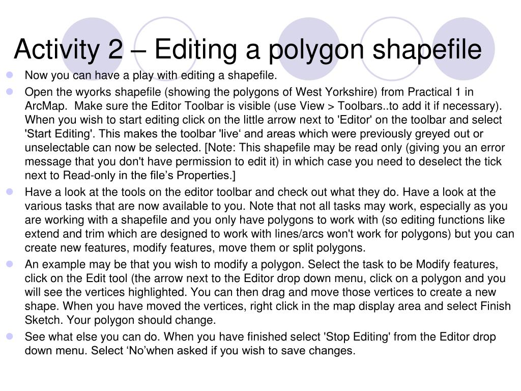 Activity 2 – Editing a polygon shapefile