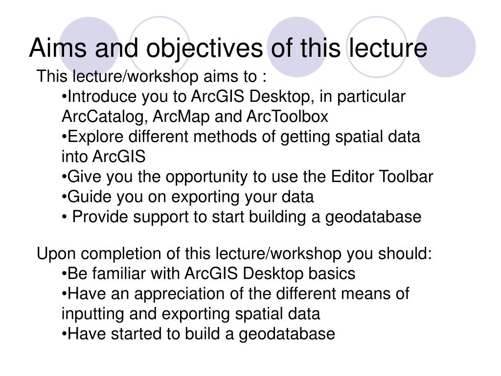 Aims and objectives of this lecture