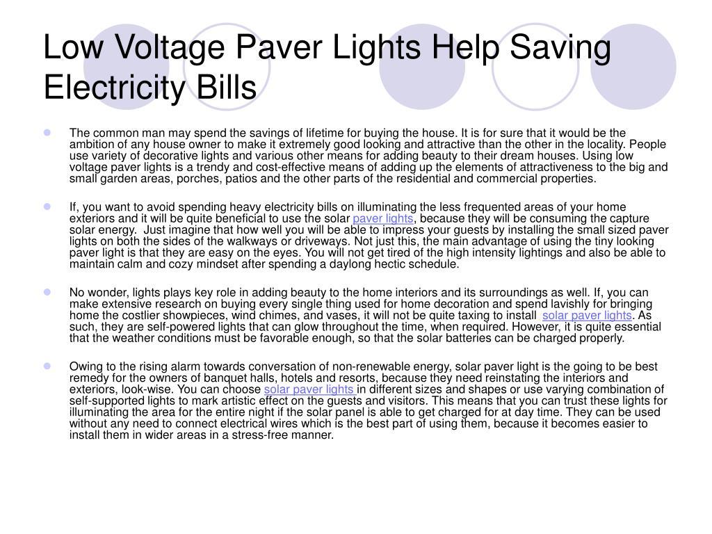 low voltage paver lights help saving electricity bills l.