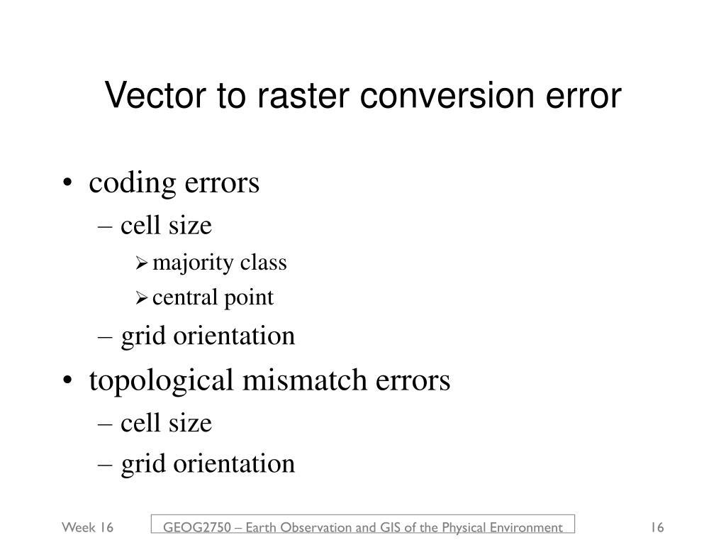 Vector to raster conversion error