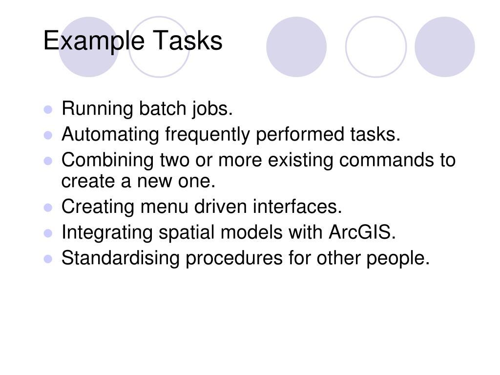 Example Tasks