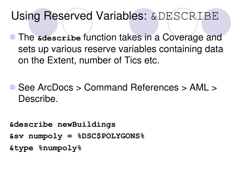 Using Reserved Variables: