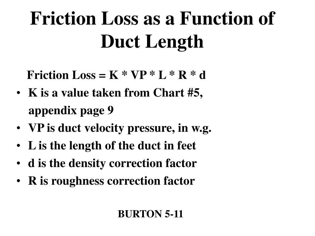 Friction Loss = K * VP * L * R * d