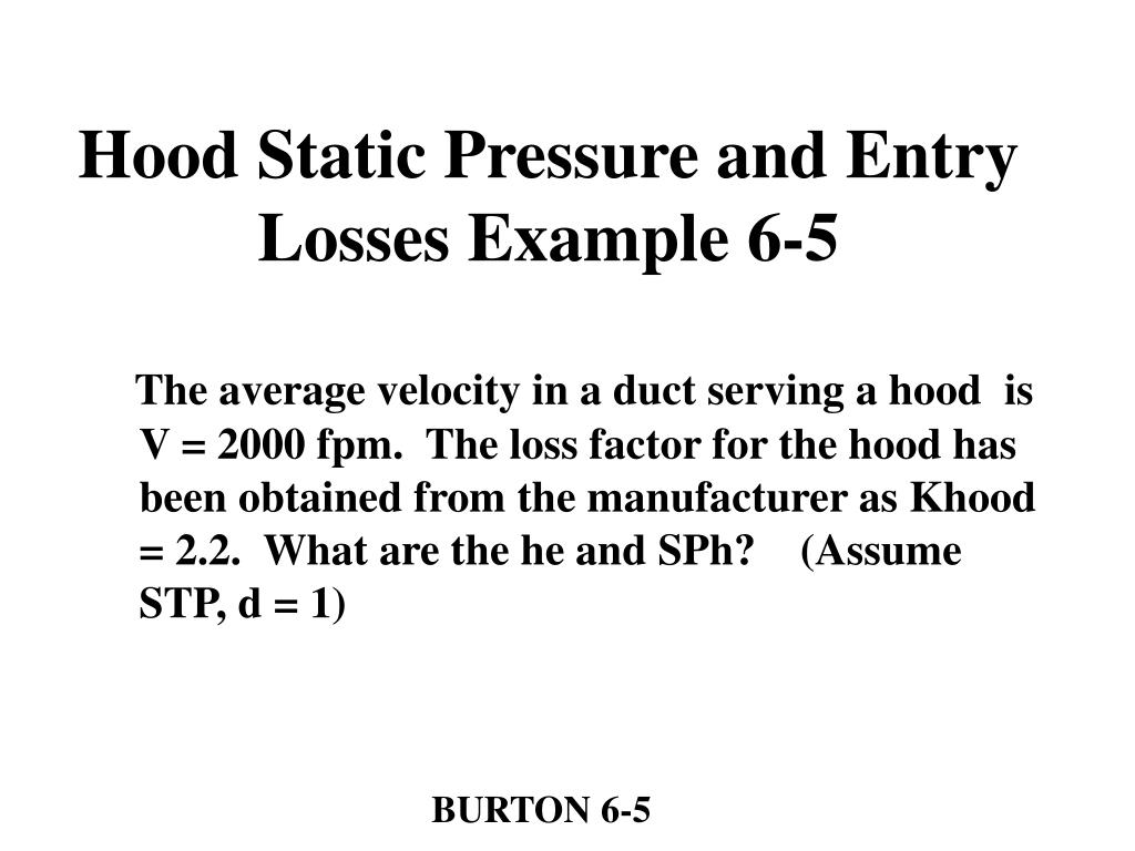Hood Static Pressure and Entry Losses Example 6-5